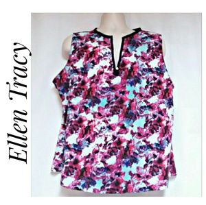 Ellen Tracy Sleeveless Floral Top Size XXL